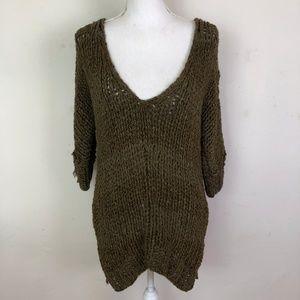 Free People V-Neck open weave split hem sweater XS